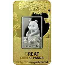 Stříbrná mince 2 Oz pozlacená Panda Four Verso 2016 Proof