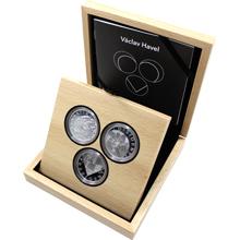 Sada tří stříbrných medailí Václav Havel - dramatik, disident, prezident 2016 Proof