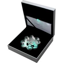 Stříbrná mince Luxury Line Čtyřlístek Lucky Shape Zelené osvícení 2016 Krystal Proof