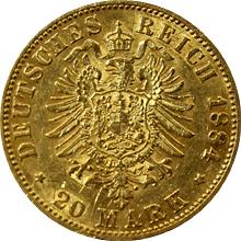 Zlatá mince 20 Marka Vilém I. Pruský 1884