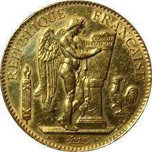 Zlatá mince 100 Frank Anděl - Génius 1886