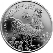 Stříbrná investiční mince Rok Kohouta Lunární The Royal Mint 1 Oz 2017