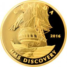 Zlatá mince HMS Discovery - Tall Ships Legacy 2016 Proof