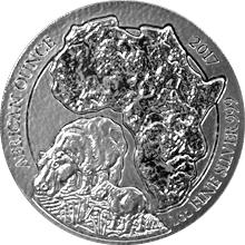 Stříbrná investiční mince Hroch Rwanda 1 Oz 2017