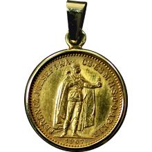 Zlatá mince Desetikoruna Františka Josefa I. Uherská ražba 1907 Přívěsek