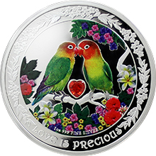 Stříbrná mince Papoušci 1 Oz Love is Precious 2017 Proof