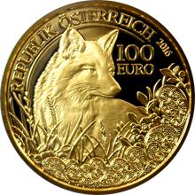 Zlatá mince Liška obecná 2016 Proof