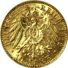 Zlatá mince 10 Marka Vilém II. Pruský 1912