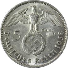 Stříbrná mince 5 Marka Paul von Hindenburg 1938