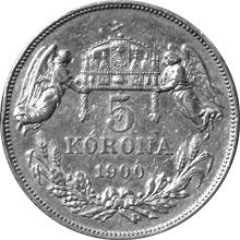 Stříbrná mince Pětikoruna Františka Josefa I. Uherská ražba 1900