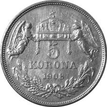 Stříbrná mince Pětikoruna Františka Josefa I. Uherská ražba 1908