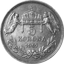 Strieborná minca Päťkorunáčka Františka Jozefa I. Uhorská razba 1907