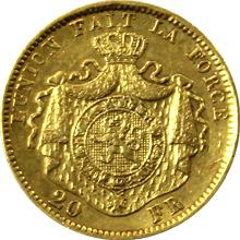 Zlatá mince 20 Frank Leopold II. Belgický 1877