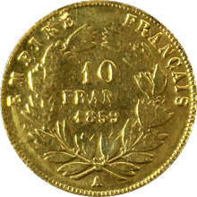 Zlatá mince 10 Frank Napoleon III. 1859 A