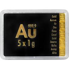 5 x 1g Combi Bar Valcambi SA Švajčiarsko Investičná zlatá tehlička