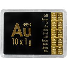 10 x 1g Combi Bar Valcambi SA Švajčiarsko Investičné zlaté tehličky