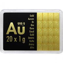 20 x 1g Combi Bar Valcambi SA Švýcarsko Investiční zlatý slitek