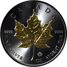Stříbrná Ruthenium mince pozlacený Maple Leaf 1 Oz Golden Enigma 2016 Standard