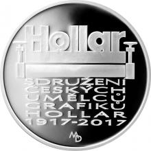 Stříbrná mince 200 Kč Založení Sdružení českých umělců grafiků Hollar 2017 Proof