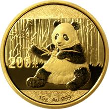 Zlatá investiční mince Panda 15g 2017