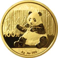 Zlatá investičná minca Panda 8g 2017