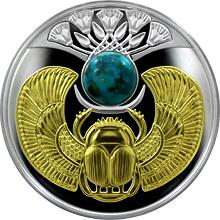 Stříbrná mince pozlacený Skarabeus Tyrkys 2017 Proof