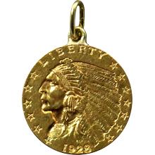 Zlatá mince Indian Head American Quarter Eagle 1928 Přívěsek