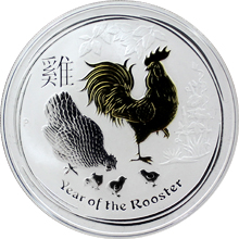 Stříbrná mince pozlacený Year of the Rooster Rok Kohouta Lunární 1 Oz 2017 Standard