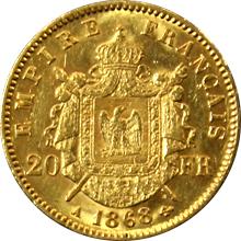 Zlatá mince 20 Frank Napoleon III. 1868 A