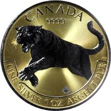 Stříbrná Ruthenium mince pozlacená Puma Predator 1 Oz Golden Enigma 2016 Proof