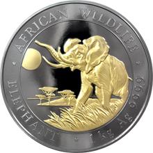 Stříbrná Ruthenium mince pozlacený Slon africký 1 Kg Golden Enigma 2016 Proof