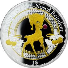 Stříbrná mince Rudolph the Rednosed Reindeer Vánoční mince 2016 Proof