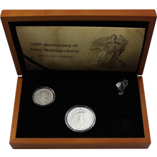 Sada stříbrných mincí Walking Liberty The Artist's Edition 100. výročí