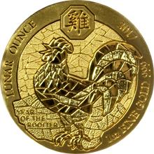 Zlatá mince 1 Oz Rok Kohouta Rwanda 2017