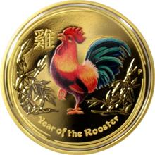 Exkluzivní Zlatá kolorovaná mince Year of the Rooster Rok Kohouta 1 Oz 2017 Proof