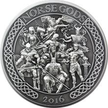 Stříbrná mince 5 Oz Severští bohové 2016 Antique Standard