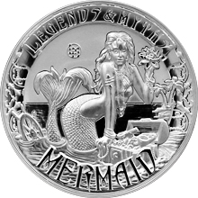 Stříbrná mince 2 Oz Mermaid Legends And Myths 2016 Proof