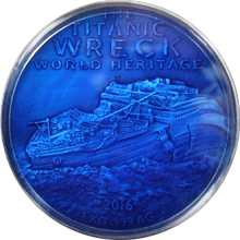 Stříbrná mince 1 Kg Deep Sea Titanic 2016 Antique Standard
