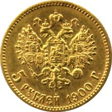 Zlatá mince 5 Rubl Mikuláš II. Alexandrovič 1900