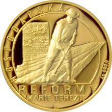Zlatá čtvrtuncová mince Reformy Marie Terezie - hospodářská 2017 Proof