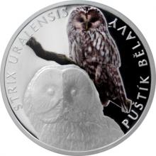 Stříbrná mince Ohrožená příroda - Puštík bělavý 2017 Proof
