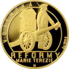 Zlatá čtvrtuncová mince Reformy Marie Terezie - vojenská 2017 Proof