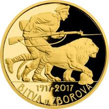 Zlatá půluncová medaile Bitva u Zborova 2017 Proof