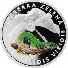 Stříbrná mince Ohrožená příroda - Ještěrka zelená 2017 Proof