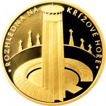 Zlatá čtvrtuncová medaile Rozhledna na Křížové hoře 2017 Proof