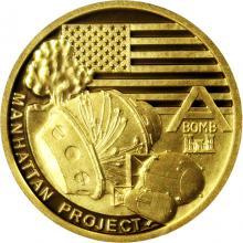 Zlatá minca Válečný rok 1942 - Projekt Manhattan 2017 Proof