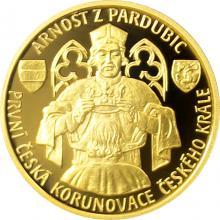 Zlatá čtvrtuncová minca Arnošt z Pardubic - prvá česká korunovácia 2017 Proof