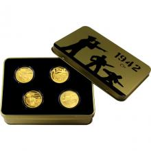 Sada štyroch zlatých mincí 2017 Válečný rok 1942 Proof
