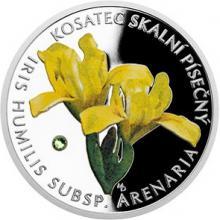 Stříbrná mince Ohrožená příroda - Kosatec skalní písečný 2017 Proof