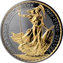 Stříbrná Ruthenium mince pozlacená Britannia 1 Oz Golden Enigma 2017 Proof